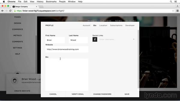 Edit your profile: Squarespace 7 Essential Training