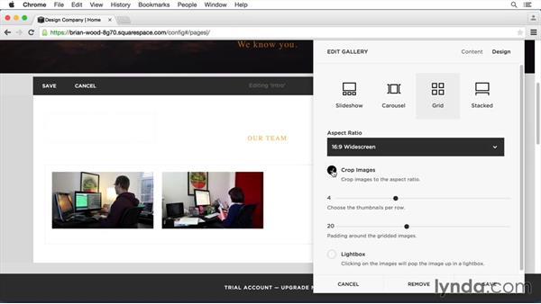 Add a gallery block: Squarespace 7 Essential Training