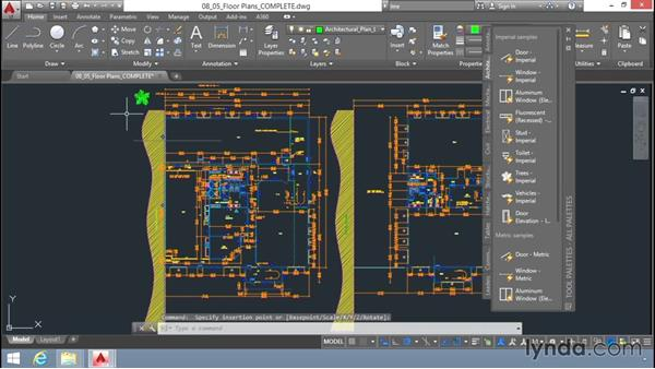 Inserting blocks using the tool palettes: Up and Running with AutoCAD LT