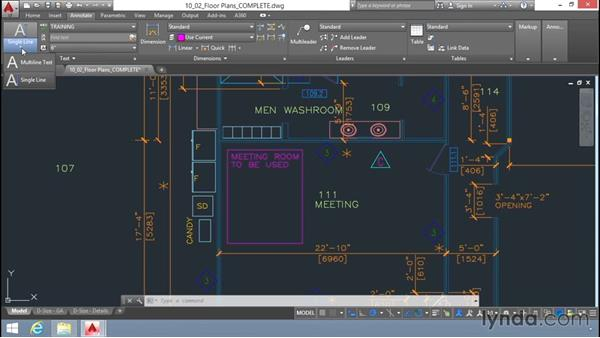 Adding text in a drawing: Up and Running with AutoCAD LT