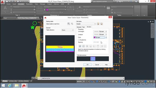 Creating tables: Up and Running with AutoCAD LT