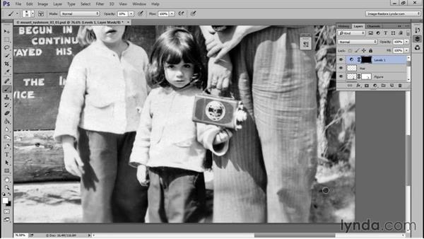 Adding shadows and sharpening: Photo Restoration Techniques: Recomposing a Photo
