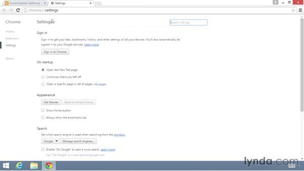 Working with settings screens: Up and Running with the Chrome Browser