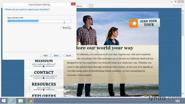 Importing and exporting bookmarks: Up and Running with the Chrome Browser