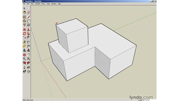Using the Line tool for 3D drawing: SketchUp 6 Essential Training