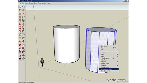 Softening round edges: SketchUp 6 Essential Training