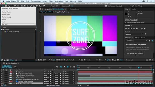 Using the exercise files and relinking footage: After Effects CC Essential Training (2015)