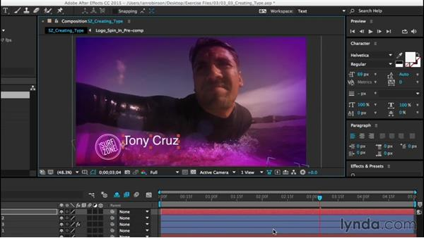 Creating type layers: After Effects CC Essential Training (2015)