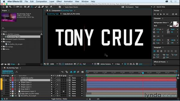 Kerning-type power shortcuts: After Effects CC Essential Training (2015)