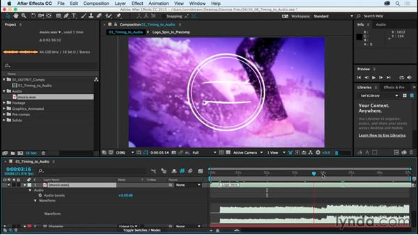 Timing animation to audio: After Effects CC Essential Training (2015)