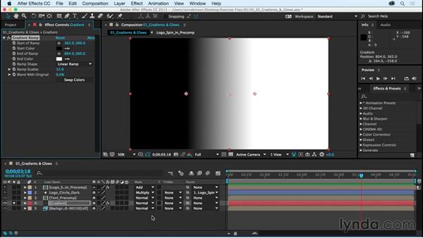 Adding gradients and glows: After Effects CC Essential Training (2015)