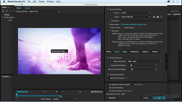 Rendering with Adobe Media Encoder: After Effects CC Essential Training (2015)