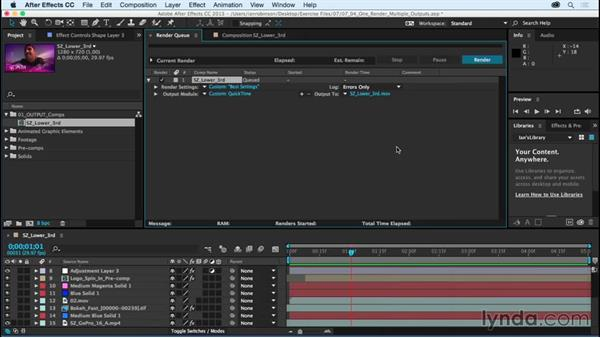 Working smarter: One render, multiple outputs: After Effects CC Essential Training (2015)