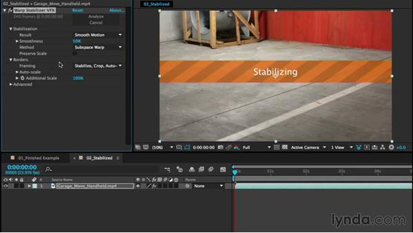 Smoothing shaky camera footage with Warp Stabilizer VFX: After Effects CC Essential Training (2015)