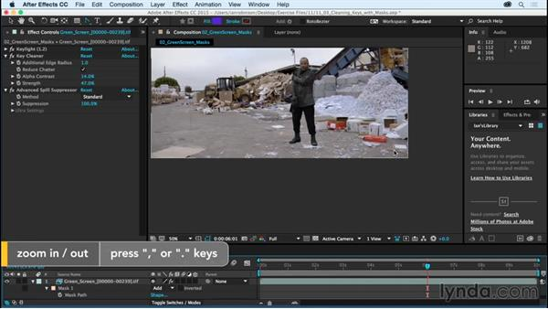 Cleaning up keys with masks: After Effects CC Essential Training (2015)