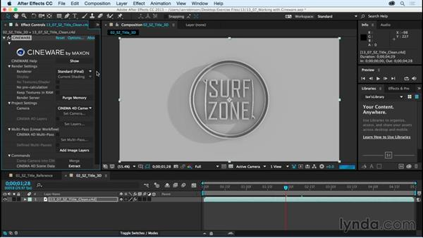 Working with CINEWARE and rendering: After Effects CC Essential Training (2015)