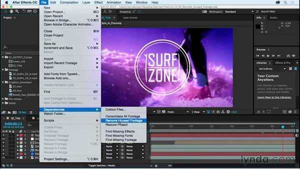 Removing unused footage: After Effects CC Essential Training (2015)