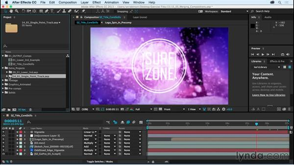 Moving compositions between projects: After Effects CC Essential Training (2015)