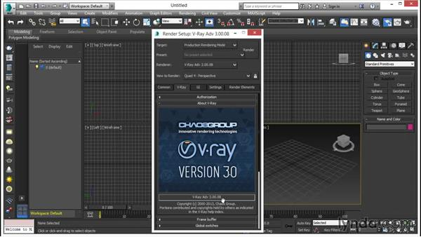 Software versions used: V-Ray 3.0 for 3ds Max Essential Training
