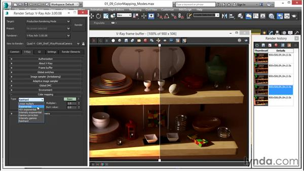 What the color mapping modes do: V-Ray 3.0 for 3ds Max Essential Training