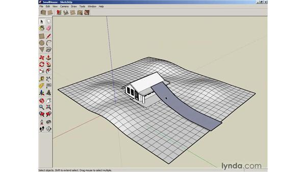 Stamping and draping objects on terrain: SketchUp 6 Essential Training