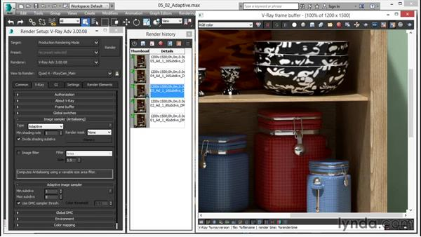 How to use the adaptive engine: V-Ray 3.0 for 3ds Max Essential Training