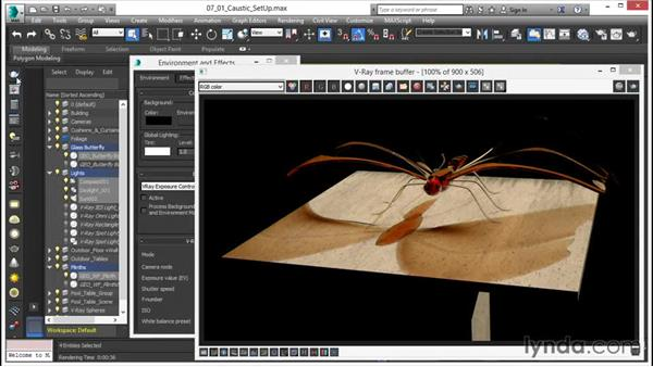 Caustic effect setup: V-Ray 3.0 for 3ds Max Essential Training