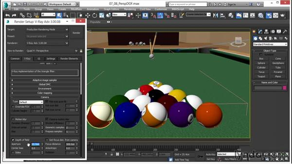 Depth of field: Using a perspective viewport: V-Ray 3.0 for 3ds Max Essential Training