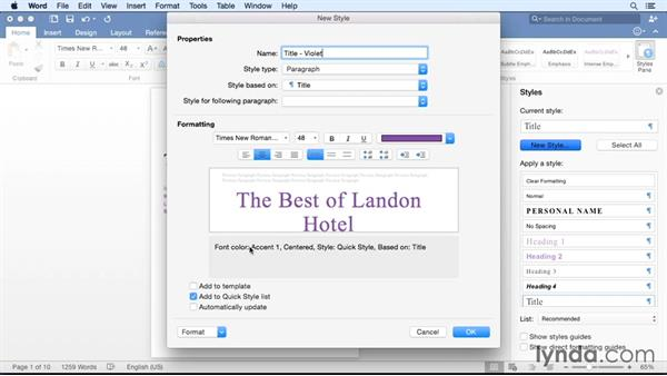 Formatting quickly with the Styles pane: Office for Mac 2016 New Features