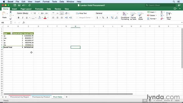 Finding data patterns with PivotTable slicers: Office for Mac 2016 New Features
