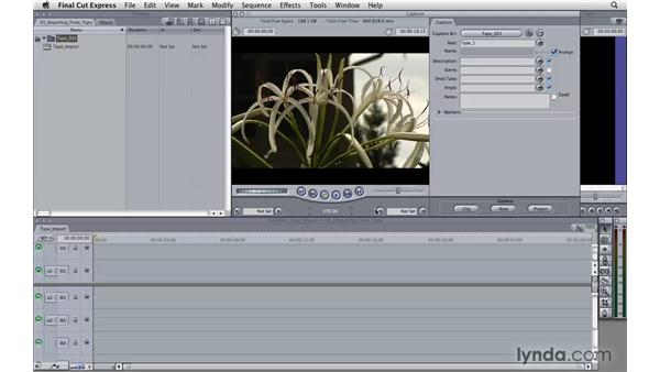 Importing from tape: Final Cut Express 4 Essential Training