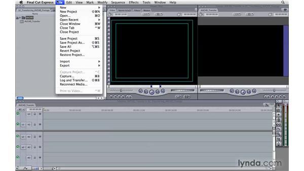 Transferring AVCHD footage: Final Cut Express 4 Essential Training