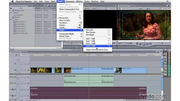 Adjusting audio levels: Final Cut Express 4 Essential Training
