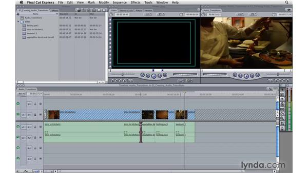 Creating audio transitions: Final Cut Express 4 Essential Training
