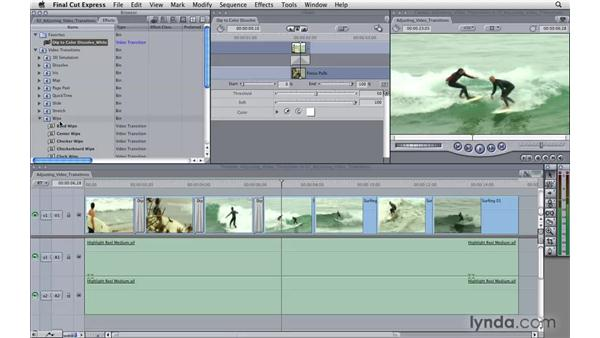 Adjusting video transitions: Final Cut Express 4 Essential Training