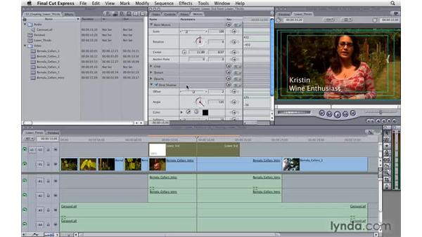 Creating lower thirds: Final Cut Express 4 Essential Training