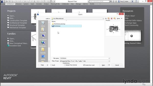 Accessing a multi-user projects using Workshare: Revit Architecture 2016 Essential Training (Imperial)