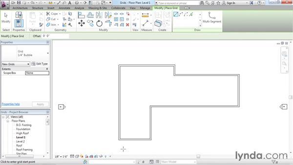 Adding grids: Revit Architecture 2016 Essential Training (Imperial)