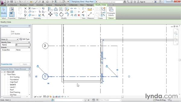 Refining a layout with temporary dimensions: Revit Architecture 2016 Essential Training (Imperial)