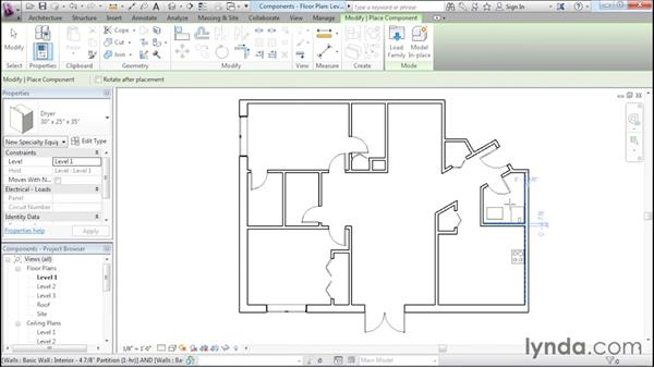 Adding plumbing fixtures and other components: Revit Architecture 2016 Essential Training (Imperial)