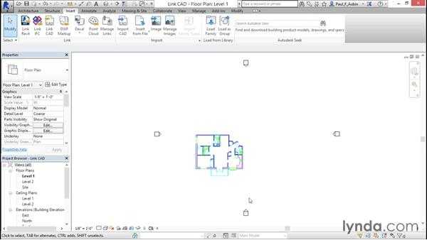 Linking AutoCAD DWG files: Revit Architecture 2016 Essential Training (Imperial)