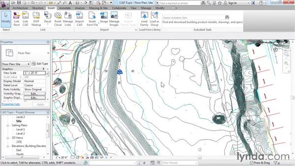 Creating topography from a DWG link: Revit Architecture 2016 Essential Training (Imperial)