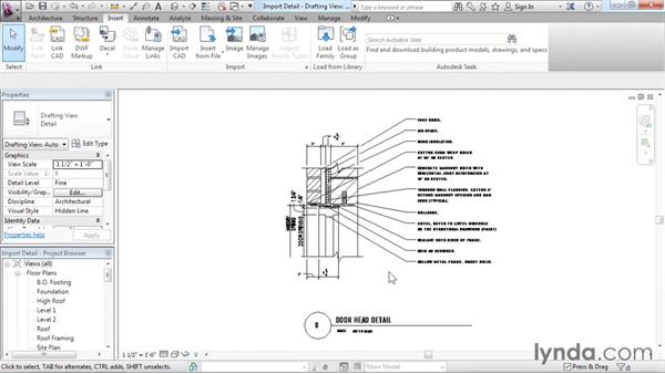Understanding CAD inserts: Revit Architecture 2016 Essential Training (Imperial)