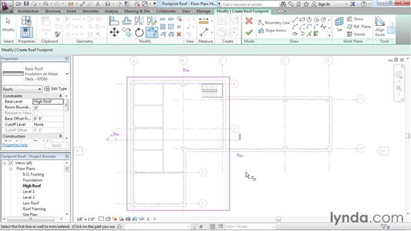 Creating footprint roofs: Revit Architecture 2016 Essential Training (Imperial)