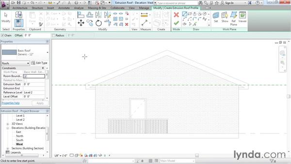Creating extrusion roofs: Revit Architecture 2016 Essential Training (Imperial)
