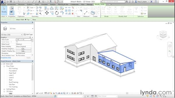 Attaching walls to roofs: Revit Architecture 2016 Essential Training (Imperial)