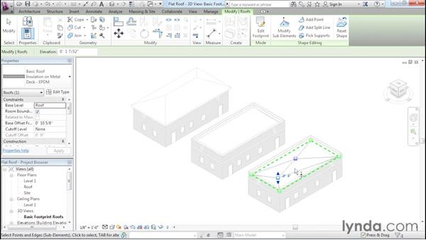 Using the shape editing tools to create a flat roof: Revit Architecture 2016 Essential Training (Imperial)