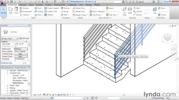 Adding extensions to railings: Revit Architecture 2016 Essential Training (Imperial)
