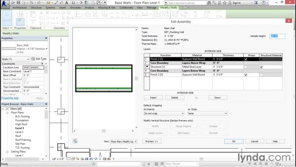 Creating a custom basic wall type: Revit Architecture 2016 Essential Training (Imperial)