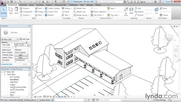 Hiding and isolating objects in a model: Revit Architecture 2016 Essential Training (Imperial)